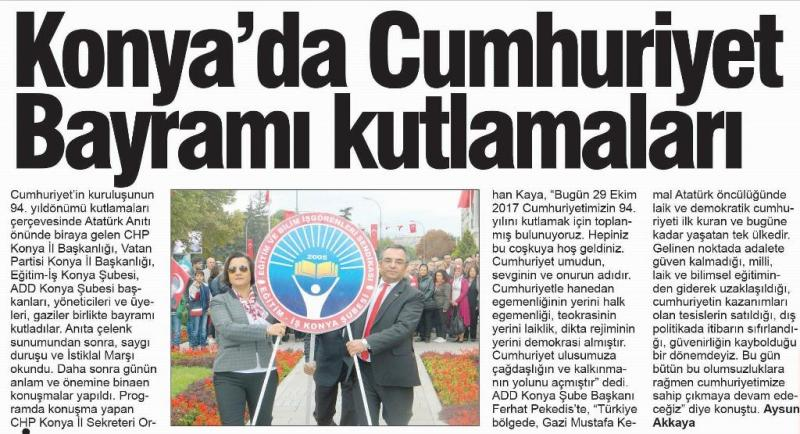 29 Ekim Cumhuriyet Bayramı Basın Açıklamamız Gazete ilanımız Yerel Basında yer aldı