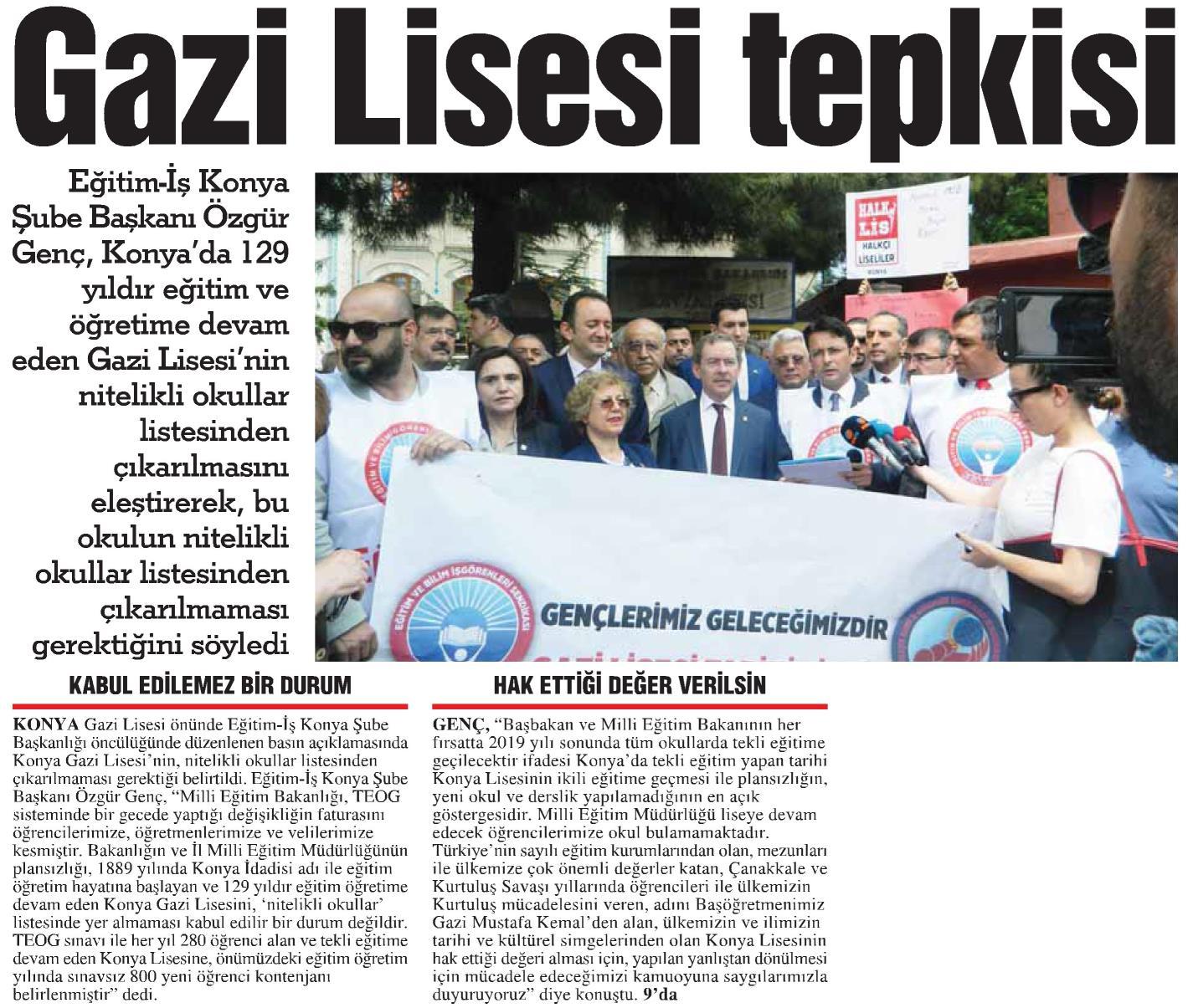 Basında Konya Gazi Lisesi Basın Açıklamamız