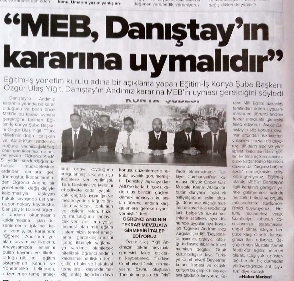 MEB ANDIMIZ KARARINA UYMALI