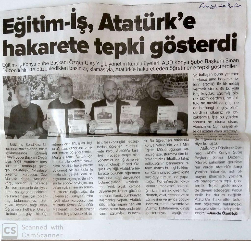 ATATÜRK'E HAKARETE EĞİTİM-İŞ TEN TEPKİ