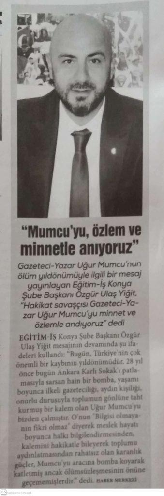UĞUR MUMCU'YU ÖZLEM VE MİNNETLE ANIYORUZ.